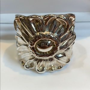 Sterling Silver Repousse Cuff Bracelet, Daisy